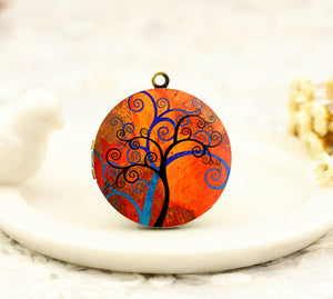 Vintage Tree of Life Charm Locket Necklace