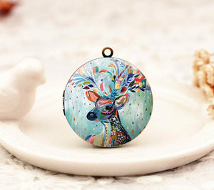 Vintage Watercolor Deer Charm Locket Necklace