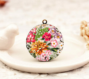 Vintage Watercolor Floral Charm Locket Necklace