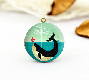 Vintage Whale with Red Bird Charm Locket Necklace