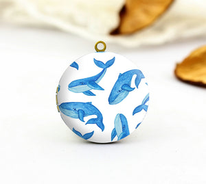 Watercolor Blue Whale Charm Locket Necklace