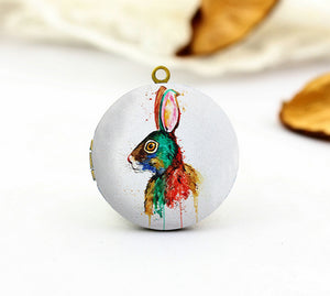 Watercolor Colored Rabbit Charm Locket Necklace