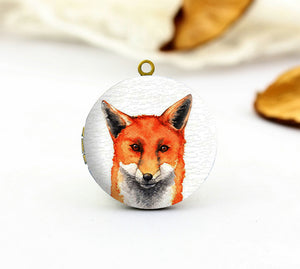 Watercolor Fox Charm Locket Necklace