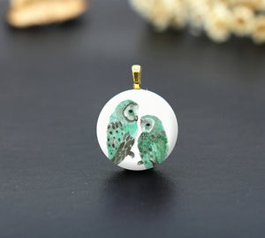 Watercolor Green Owl Ceramic Porcelain Charm Cabochons
