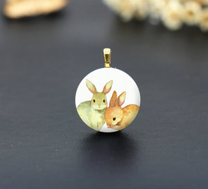 Watercolor Rabbit Ceramic Porcelain Charm Cabochons