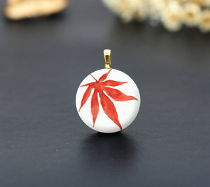Watercolor Red leaf Ceramic Porcelain Charm Cabochons