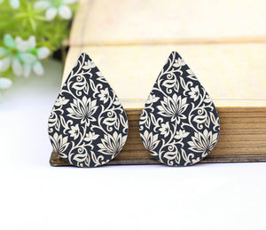 White Lotus Leather Teardrop Earring Charm Supplies