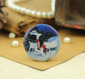 White Reindeer Charm Locket Necklace