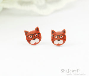 4pcs (2 pairs) Mini Resin Cat Earrings, Cat Head Charms, Tiny kitten Pendant, Perfect for Stud Earring - YED001D