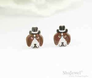 4pcs (2 pairs) Mini Resin Dog Earrings, Dog Head Charms, Animal Pendant, Perfect for Stud Earring - YED002C