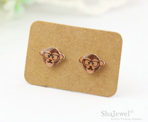 4pcs (2 pairs) Mini Resin Monkey Earrings, Monkey Head Charms, Animal Pendant, Perfect for Stud Earring - YED002G