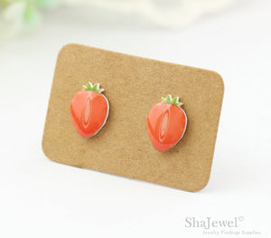 4pcs (2 pairs) Mini Resin Strawberry Earrings, Strawberry Charms, Fruit Pendant, Perfect for Stud Earring - YED003G