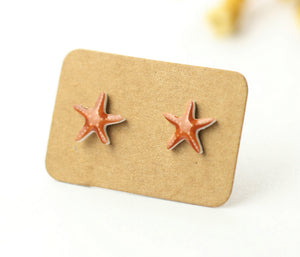 4pcs (2 pairs) Mini Resin starfish Earrings, Sea Star Charms, Sea Animal Pendant, Perfect for Stud Earring - YED004P
