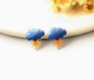 4pcs (2 pairs) Mini Resin lightning Cloud Earrings, lightning Charms, Weather Pendant, Perfect for Stud Earring - YED006S