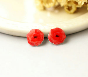 4pcs (2 pairs) Mini Resin Red Rose Earrings, Rose Charms, Flower Pendant, Perfect for Stud Earring - YED007S
