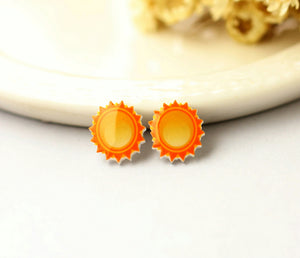 4pcs (2 pairs) Mini Resin Sun Earrings, Sun Charms, Weather Pendant, Perfect for Stud Earring - YED007V