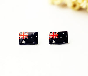 4pcs (2 pairs) Mini Resin Australian flag Earrings,  Australia Flag Charms, Flag Pendant, Perfect for Stud Earring - YED008N