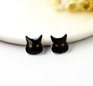 4pcs (2 pairs) Mini Resin Black Cat  Earrings, Cat Head Charms, Animal Pendant, Perfect for Stud Earring - YED009B