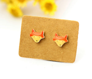 4pcs (2 pairs) Mini Resin Fox Earrings, Fox Charms,  Animal Pendant, Perfect for Stud Earring - YED012S