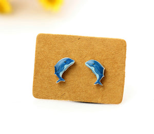 4pcs (2 pairs) Mini Resin dolphin Earrings, dolphin Charms,  Animal Pendant, Perfect for Stud Earring - YED012W