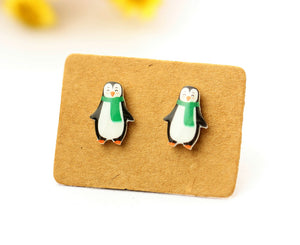 4pcs (2 pairs) Mini Resin penguin Earrings, penguin Charms,  Animal Pendant, Perfect for Stud Earring - YED012X