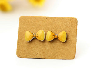 4pcs (2 pairs) Mini Resin Yellow Bow  Earrings, Bow   Charms,  Bow  Pendant, Perfect for Stud Earring - YED013V