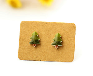 4pcs (2 pairs) Mini Resin Christmas Tree  Earrings, Pine Tree Charms,  Plant Pendant, Perfect for Stud Earring - YED014K