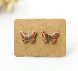 4pcs (2 pairs) Mini Resin Butterfly Earrings,  Butterfly  Charms,  insect Pendant, Perfect for Stud Earring - YED016R
