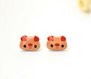 4pcs (2 pairs) Mini Resin Pink Pig Earrings,  Pig Charms,  Animal Pendant, Perfect for Stud Earring - YED017B