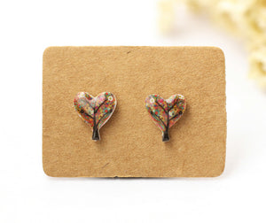 4pcs (2 pairs) Mini Resin Summer Tree Earrings, Heart Tree  Charms,  Love Tree Pendant, Perfect for Stud Earring - YED018C
