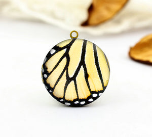 Yellow Butterfly Wing Charm Locket Necklace