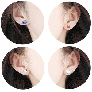 4pcs (2 pairs) Mini Resin Moon Earrings,  Moon Charms,  Moon Night Pendant, Perfect for Stud Earring - YED016N