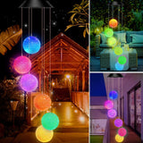 Solar Powered Color Changing Crystal Ball Wind Chime