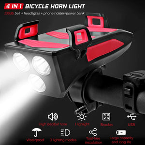 4 IN 1 MULTIFUNCTIOON BICYCLE ACCESSORY (HOLDER, HORN, LIGHT & POWERBANK)