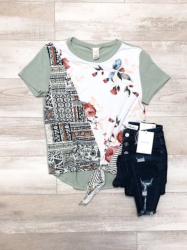 Sage Aztec Short Sleeve Top