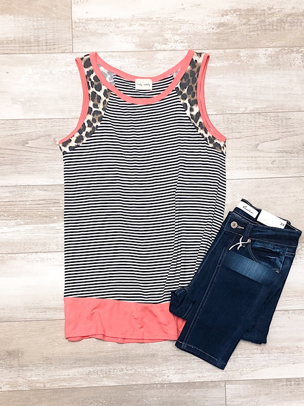 Coral and Leopard Stripe Tank