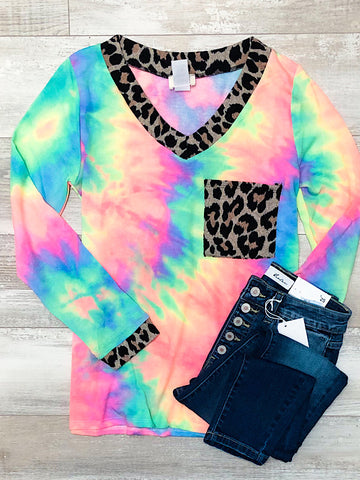 *New* Rainbow leopard tie dye top