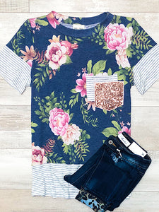 *New* Navy Floral Short Sleeve top