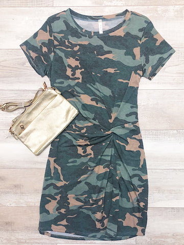 *New* Camo side knot dress