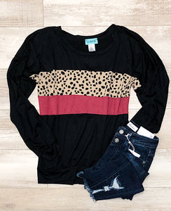 *New* Black berry leopard top