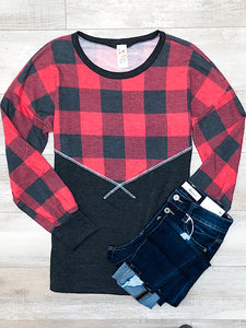 *New* Charcoal Chevron Plaid stitch top