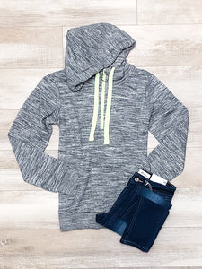 *New* Marled Charcoal Neon Zip up Hoodie