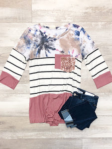 *New* Mauve color block top