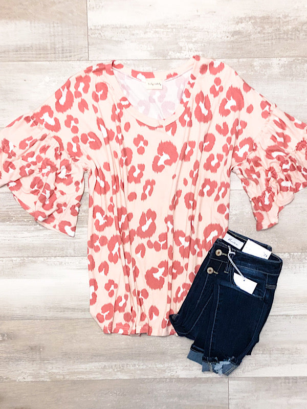 *New* Coral Leopard Ruffle top