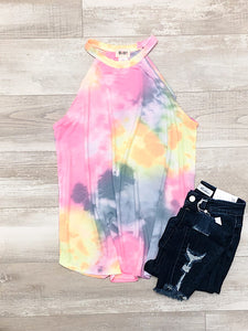 *New* Neon Pink and Grey Halter Neck Tank