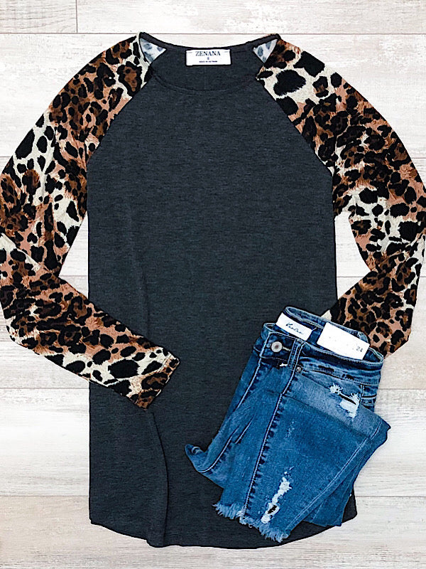 *New* Charcoal Leopard Sleeve top