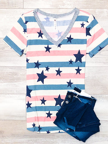 *New* Mauve Stripe Star top