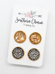 *Preorder* Champagne Gold Fleck Earring duo