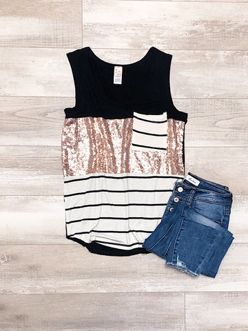 Color Block Sequin Tank