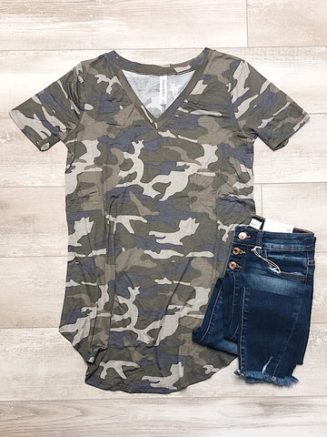 *New* Camo Short Sleeve - Araly's Boutique